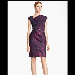 MAXMARA abstract/floral print belted dress